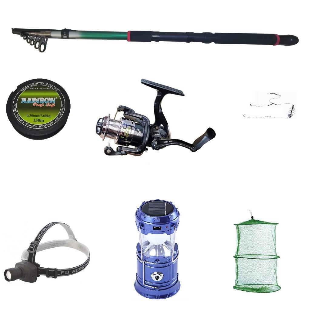 Set pescuit sportiv cu lanseta 3,6 m mulineta cu 6 rulmenti , felinar solar, lanterna frontala si accesorii imagine techstar.ro 2021