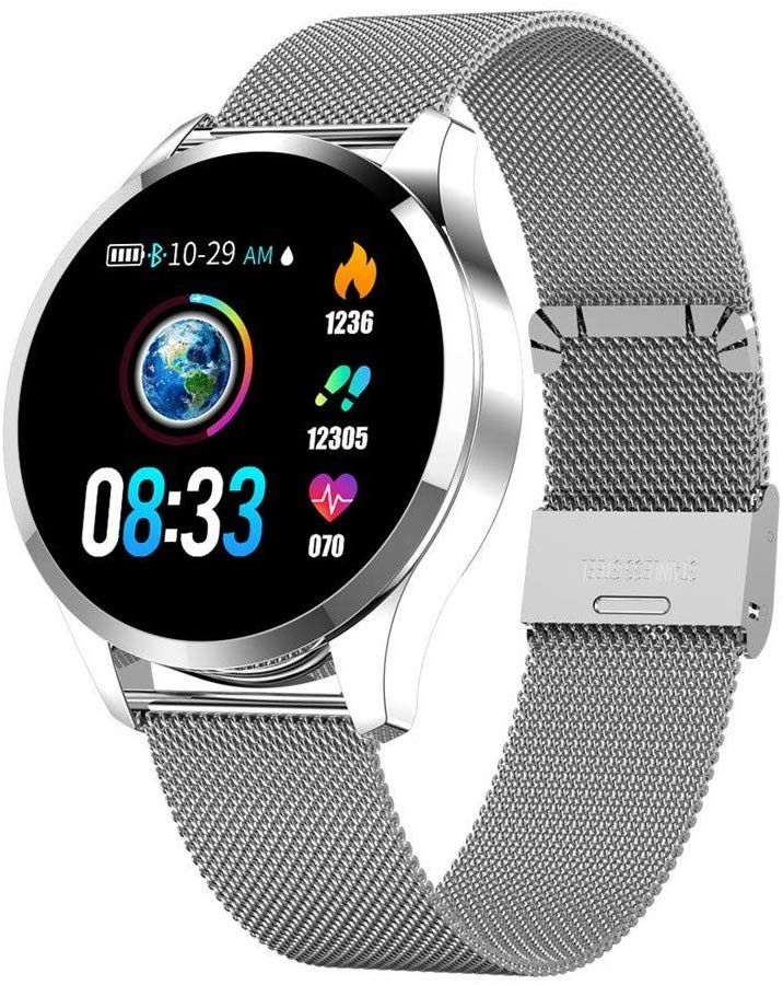 Ceas Smartwatch Techstar® Q9, Bluetooth 4.0, Waterproof IP65, IPS Touch HD, Potrivit Fitness, Android, iOS, Silver poza 2021