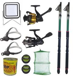 Pachet de pescuit cu 2 lansete eastshark 3,6m, doua mulinete si accesorii