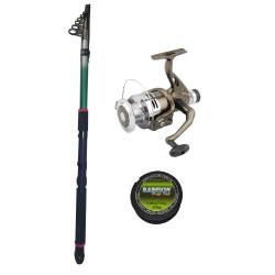 Set pescuit cu lanseta Eastshark 3,6m, mulineta NBR4000 cu 5 rulmenti si guta
