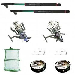 Kit de pescuit sportiv cu 2 lansete 3.6m, doua mulinete baitrunner cool angel 11 rulmenti si tambur de rezerva