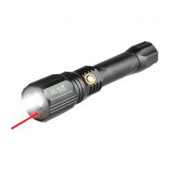 Lanterna Led si Laser UV Reincarcabila Lumina Alba Laser Rosu 550 Lumeni 10W Acumulator Inclus
