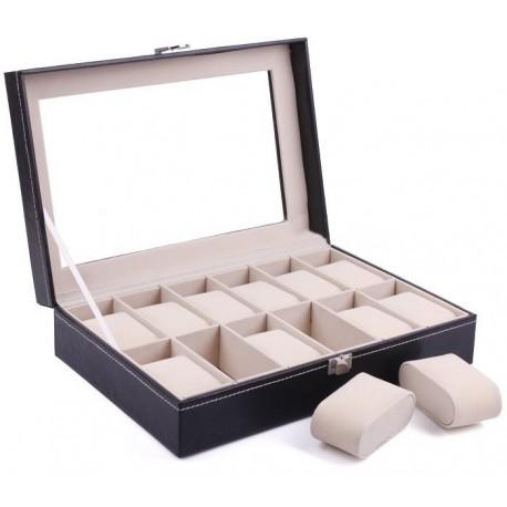 Cutie pentru 12 ceasuri din piele ecologica