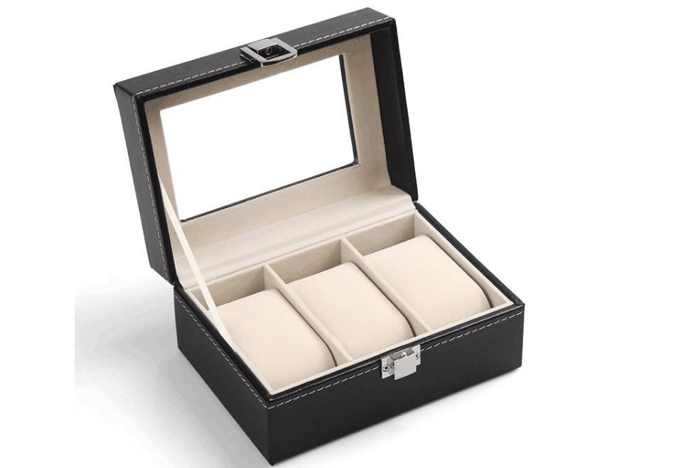 Cutie pentru 3 ceasuri din piele ecologica imagine techstar.ro 2021