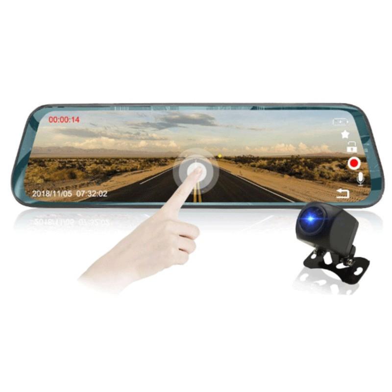 Camera Auto Dubla Oglinda iUni Dash LP01, WDR, Touchscreen, Display 9.66 inch, FullHD, Night Vision, 170 grade