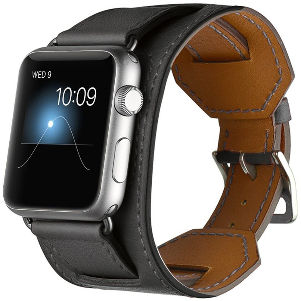 Curea pentru Apple Watch 40mm Piele iUni Cuff Negru imagine techstar.ro 2021