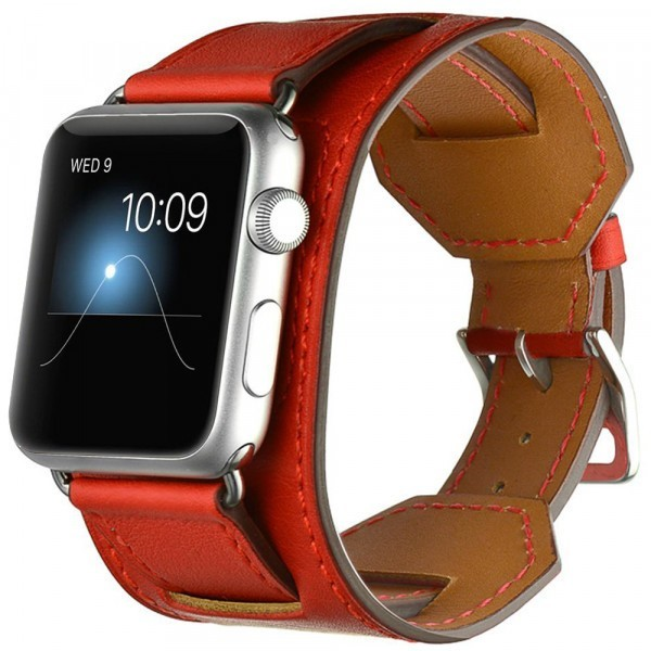 Curea pentru Apple Watch 44 mm piele iUni Cuff Rosie