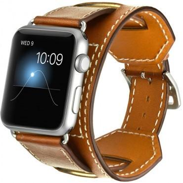 Curea pentru Apple Watch 44 mm piele iUni Cuff Maro
