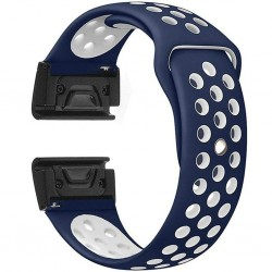 Curea ceas Smartwatch Garmin Fenix 3 / Fenix 5X, 26 mm iUni Silicon Sport Albastru-Alb