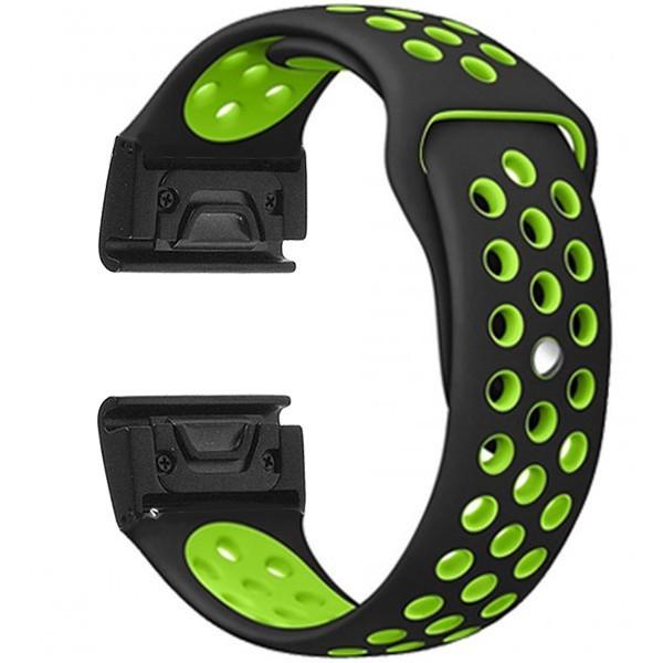 Curea ceas Smartwatch Garmin Fenix 3 / Fenix 5X, 26 mm iUni Silicon Sport Negru-Verde