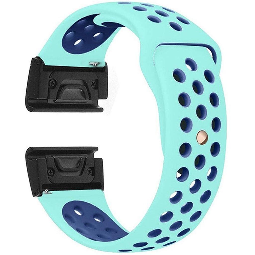 Curea ceas Smartwatch Garmin Fenix 3 / Fenix 5X, 26 mm iUni Silicon Sport Turquoise-Blue