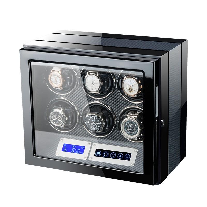 Cutie pentru intors ceasuri automatice iUni Luxury Watch Winder 6, Carbon