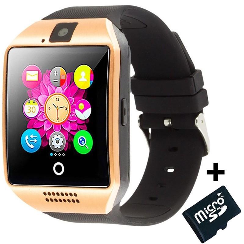 Smartwatch cu telefon iUni Q18, Camera, BT, 1,5 inch, Auriu + Card MicroSD 4GB Cadou