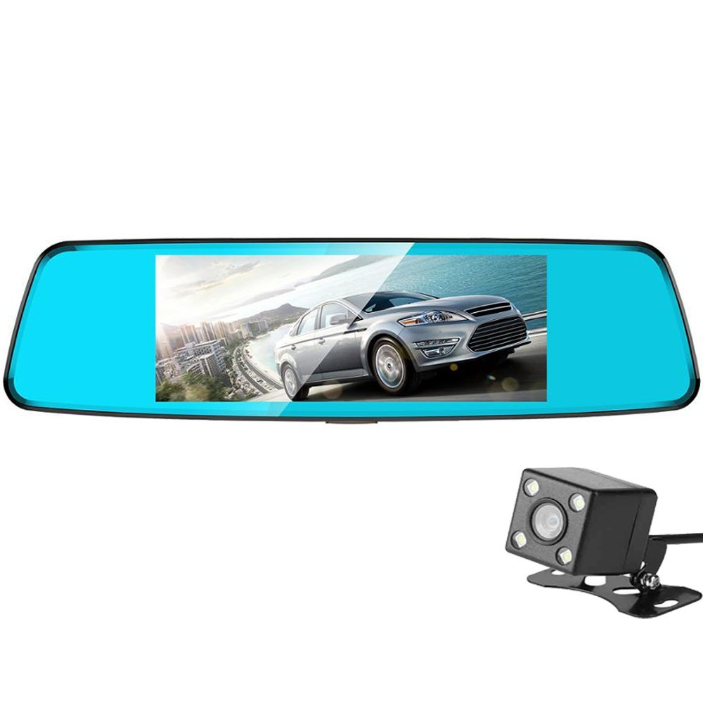 Camera Auto Oglinda iUni Dash T77, Dual Cam, Touchscreen, Display 7 inch, Full HD Night Vision, WDR 170 grade