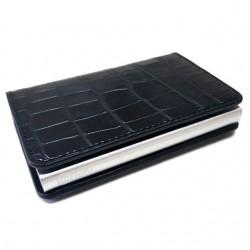 Portofel unisex, port card iUni P1, RFID, Compartiment 8 carduri, Print crocodil Negru