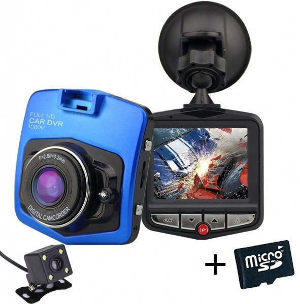 Camera auto Dubla iUni Dash 806, Full HD, 12Mpx, 2.5 Inch, 170 grade, Parking monitor G senzor, Blue+Card 16GB imagine techstar.ro 2021