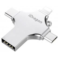 Stick USB-C 128GB iUni iDragon 4 in 1 Lightning, MicroUSB, Type-C, USB 3.0 Smartphone iOS si Android