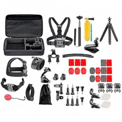 Set 52 accesorii camera sport GoPro + Geanta transport, iUni Kit9