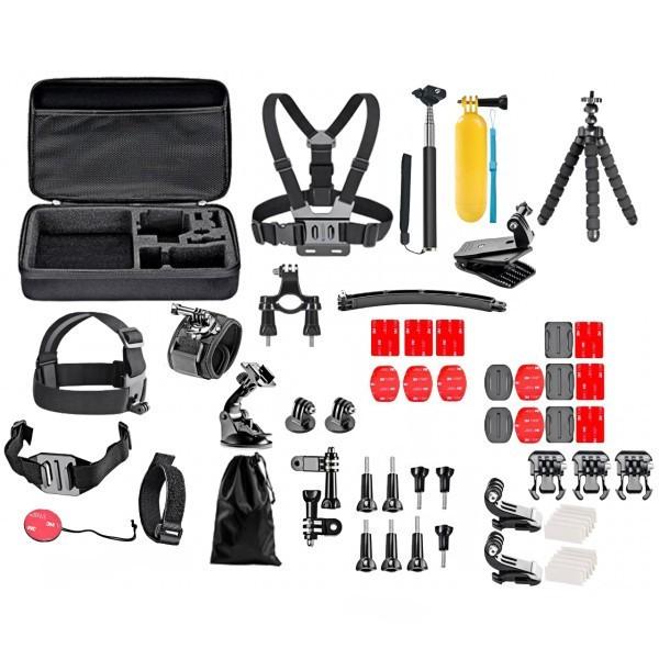 Set 52 accesorii camera sport GoPro + Geanta transport, iUni Kit9 imagine techstar.ro 2021