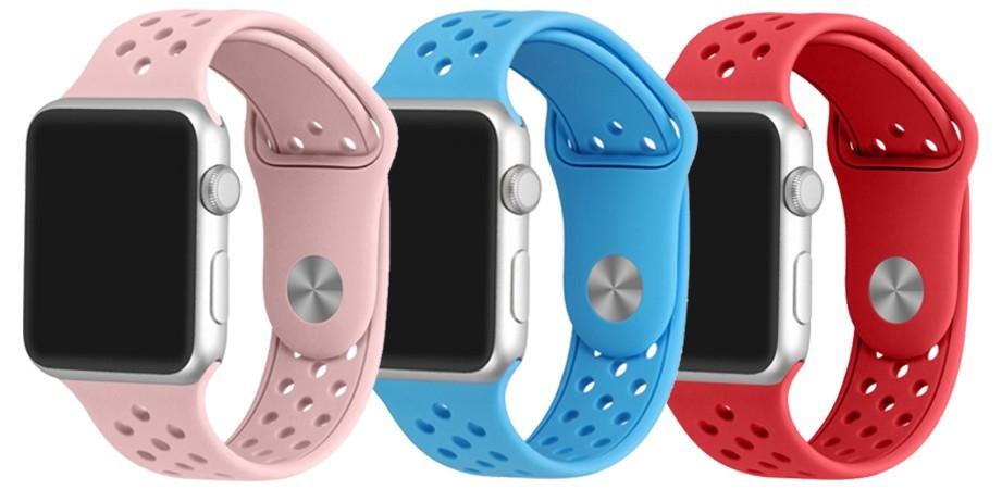 Set 2+1 Gratis, Curele Apple Watch iUni 38 mm Silicon Sport Blue, Soft Pink, Red
