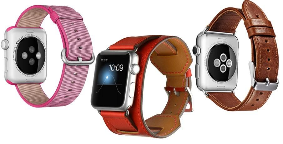 Set 2+1 Gratis, Curele Apple Watch iUni 42 mm Nylon Electric Pink, Piele 4 in 1 Cuff Rosu, Piele Vintage Brown
