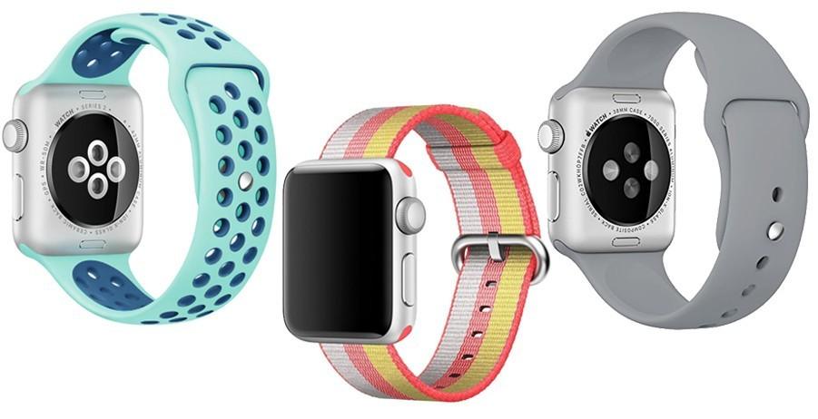 Set 2+1 Gratis, Curele Apple Watch iUni 42 mm Silicon Sport Turquoise-Blue, Nylon Rainbow, Silicon Gray imagine techstar.ro 2021