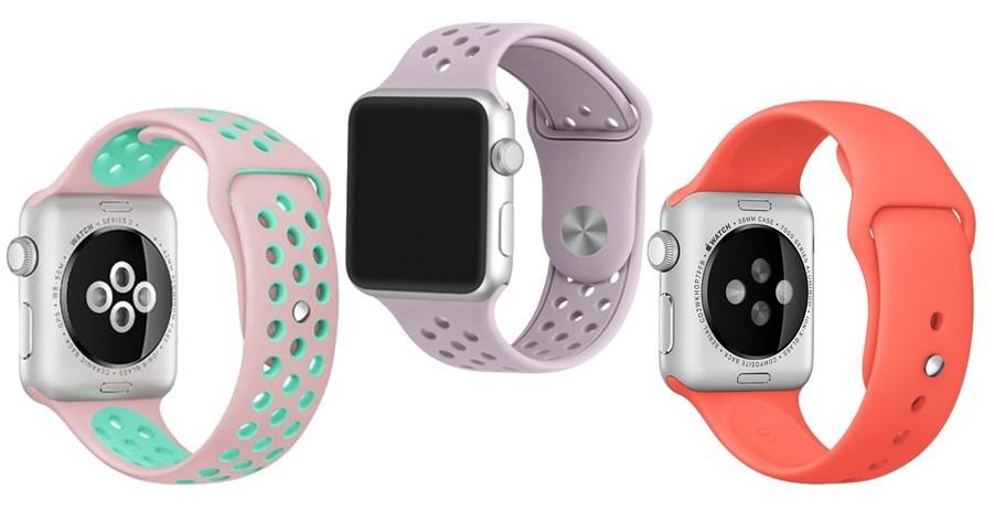 Set 2+1 Gratis, Curele Apple Watch iUni 38 mm Silicon Sport Pink-Blue, Soft Purple, Red