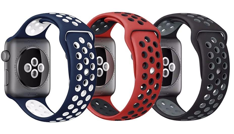 Set 2+1 Gratis, Curele Apple Watch iUni 38 mm Silicon Rosu-Negru, Albastru-Alb, Negru-Argintiu
