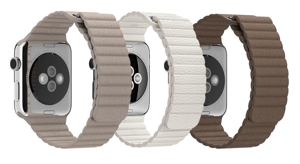 Set 2+1 Gratis, Curele Apple Watch iUni 42 mm Leather Loop Brown, Kaki, White