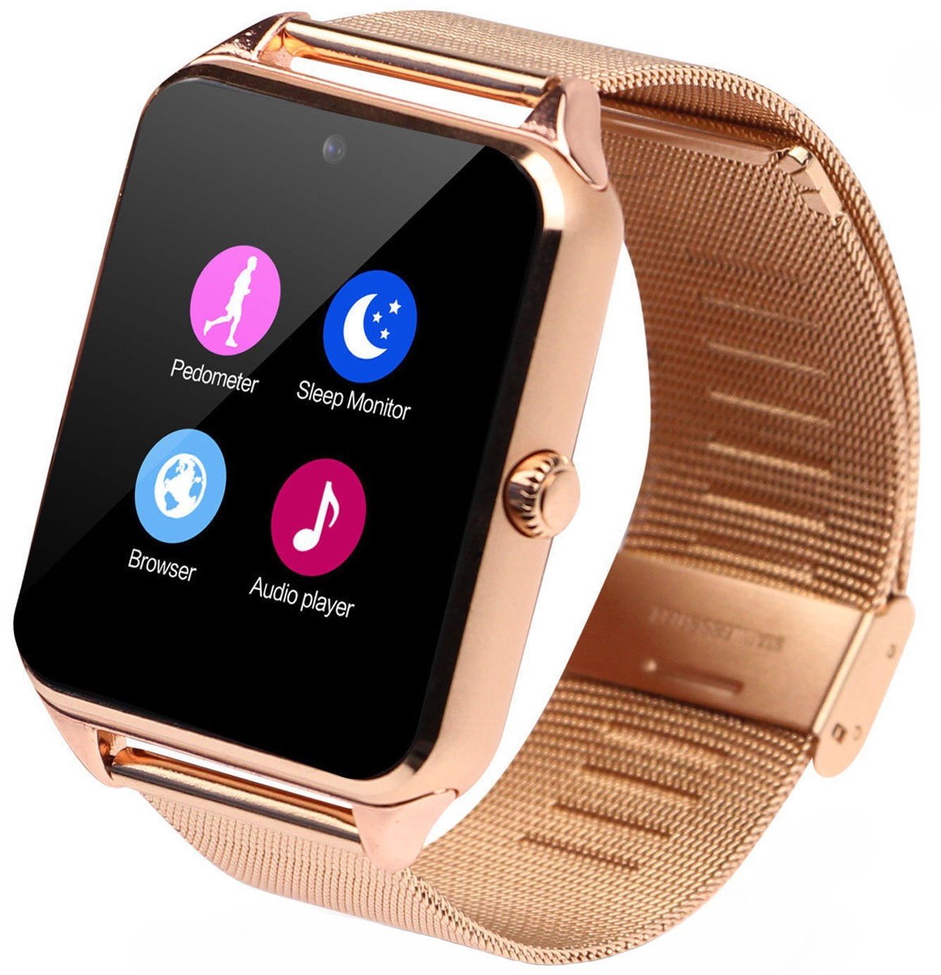 Ceas Smartwatch cu Telefon iUni Z60, Curea Metalica, Touchscreen, BT, Camera, Notificari, Gold imagine techstar.ro 2021
