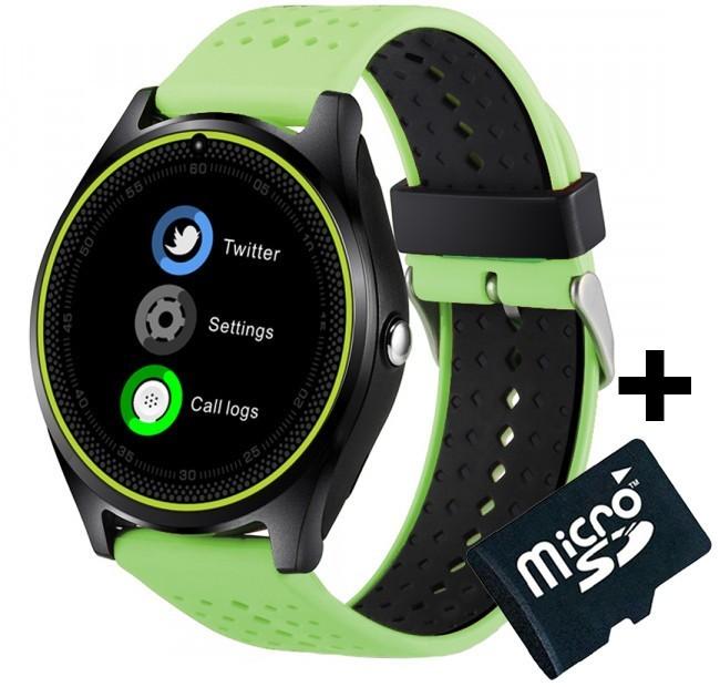 Ceas Smartwatch cu Telefon iUni V9 Plus, Touchscreen, 1.3 HD, Camera 2MP, iOS si Android, Verde + Card 4GB
