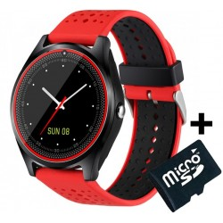 Ceas Smartwatch cu Telefon iUni V9 Plus, Touchscreen, 1.3' HD, Camera 2MP, iOS si Android, Rosu + Card 4GB