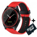 Ceas Smartwatch cu Telefon iUni V9 Plus, Touchscreen, 1.3' HD, Camera 2MP, iOS si Android, Rosu + Card 4GB