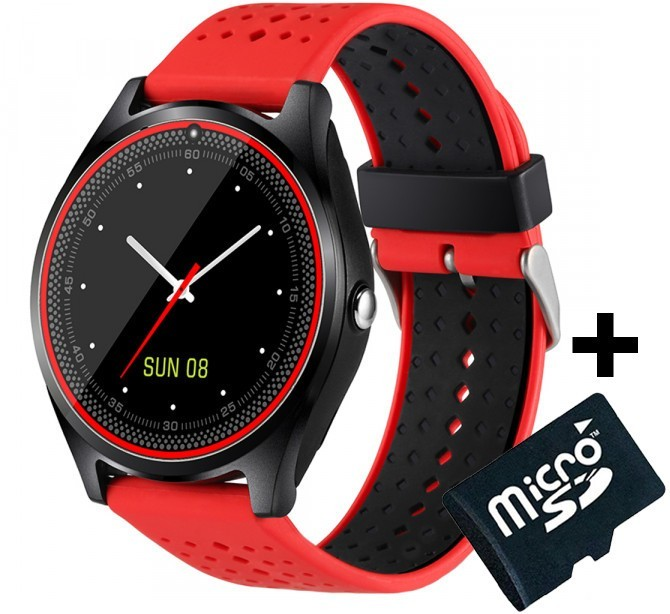 Ceas Smartwatch cu Telefon iUni V9 Plus, Touchscreen, 1.3' HD, Camera 2MP, iOS si Android, Rosu + Card 4GB imagine