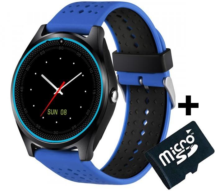 Ceas Smartwatch cu Telefon iUni V9 Plus, Touchscreen, 1.3 HD, Camera 2MP, iOS si Android, Albastru + Card 4GB