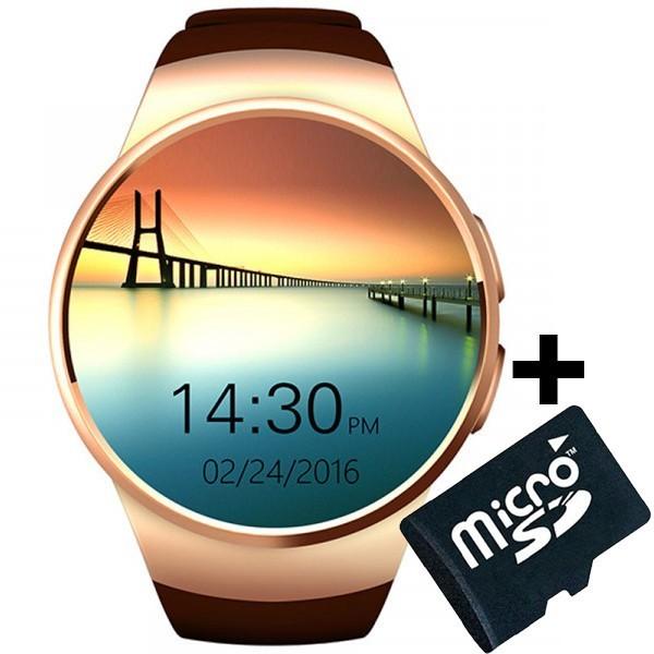 Ceas Smartwatch cu Telefon iUni KW18, Touchscreen 1.3 Inch, Notificari, iOS, Android, Gold + Card MicroSD 4GB imagine techstar.ro 2021