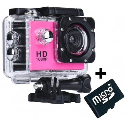Camera Sport iUni Dare 50i HD 1080P, 12M, Waterproof, Roz + Card MicroSD 8GB Cadou