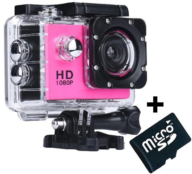 Camera Sport Iuni Dare 50i Hd 1080p, 12m, Waterproof, Roz + Card Microsd 8gb Cadou