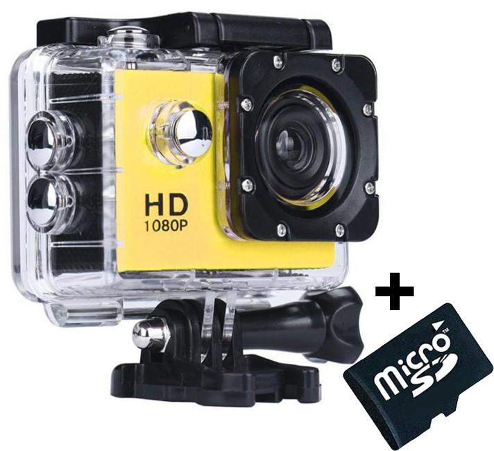 Camera Sport iUni Dare 50i HD 1080P, 12M, Waterproof, Galben + Card MicroSD 8GB Cadou imagine techstar.ro 2021
