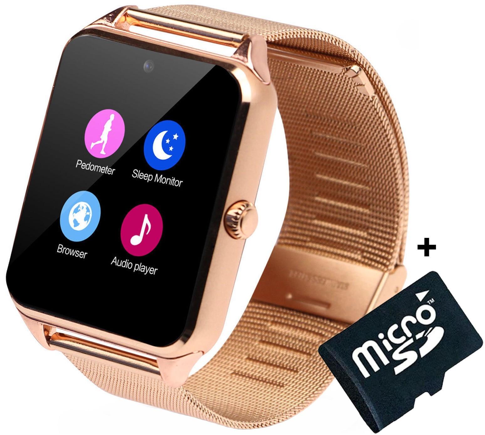Ceas Smartwatch cu Telefon iUni Z60, Curea Metalica, Touchscreen, Camera, Gold + Card MicroSD 4GB imagine techstar.ro 2021