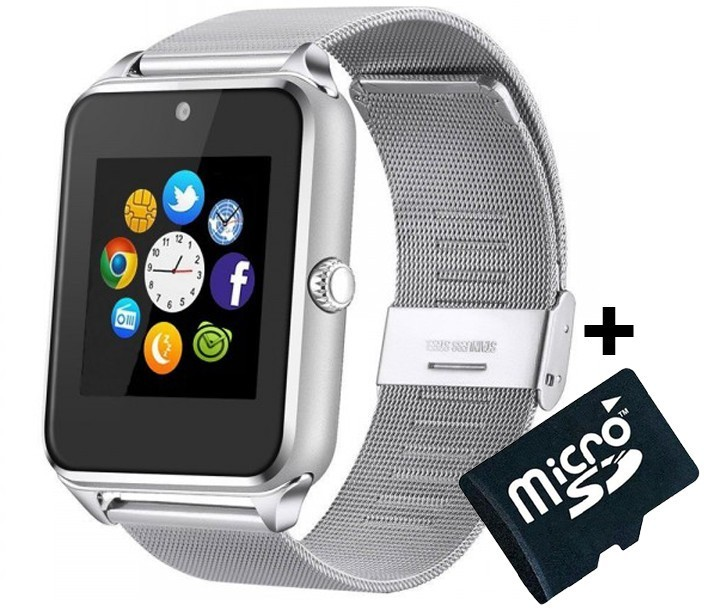 Ceas Smartwatch Cu Telefon Iuni Z60, Curea Metalica, Touchscreen, Camera, Silver + Card Microsd 4gb