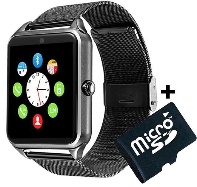 Ceas Smartwatch cu Telefon iUni Z60, Curea Metalica, Touchscreen, Camera, Aluminiu + Card MicroSD 4GB