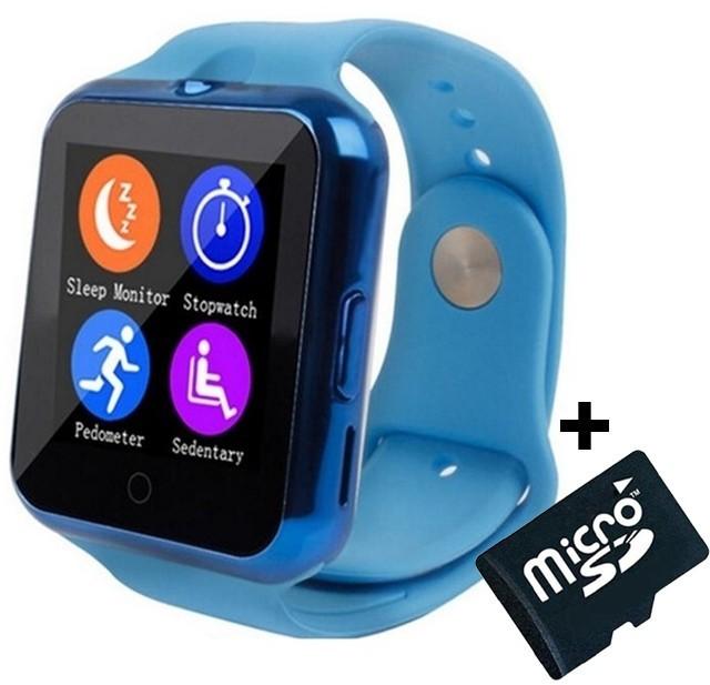 Ceas Smartwatch cu Telefon iUni V88,1.22 inch, BT, 64MB RAM, 128MB ROM, Albastru + Card MicroSD 4GB Cadou