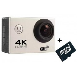 Camera Video Sport 4K iUni Dare 85i, WiFi, mini HDMI, 2 inch LCD, Argintiu + Sport Kit + Card MicroSD 8GB