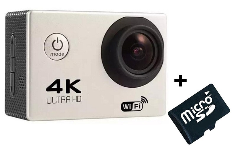 Camera Video Sport 4K iUni Dare 85i, WiFi, mini HDMI, 2 inch LCD, Argintiu + Sport Kit + Card MicroSD 8GB imagine techstar.ro 2021