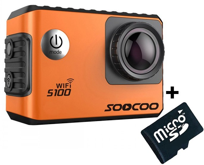 Camera Video Sport 4K iUni Dare S100 Orange, WiFi, GPS, mini HDMI, 2 inch LCD + Card MicroSD 16GB Cadou