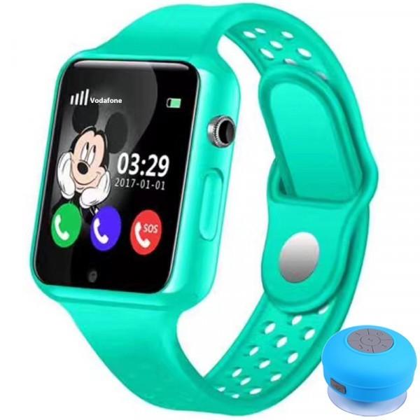 Ceas cu GPS Copii iUni Kid98, Telefon incorporat, Touchscreen 1.54 inch, Bluetooth, Notificari, Camera, Verde + Boxa Cadou imagine techstar.ro 2021