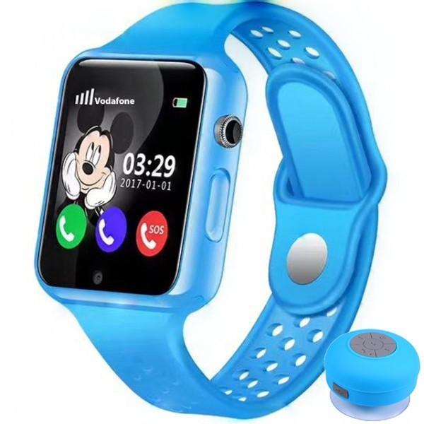Ceas cu GPS Copii iUni Kid98, Telefon incorporat, Touchscreen 1.54 inch, Bluetooth, Notificari, Camera, Albastru + Boxa Cadou