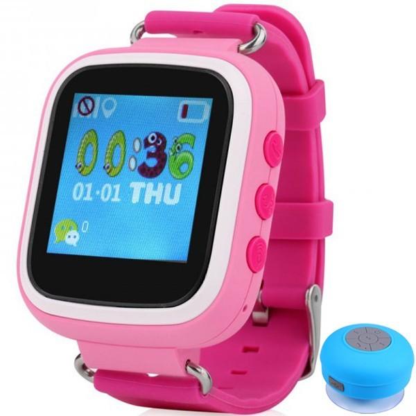 Ceas Smartwatch cu GPS Copii iUni Kid90, Telefon incorporat, Buton SOS, BT, LCD 1.44 Inch, Pink + Boxa Cadou