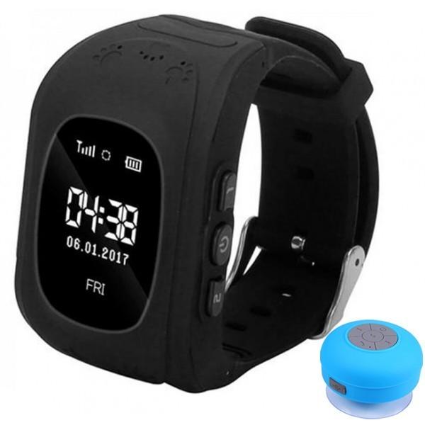 Ceas cu GPS Tracker si Telefon pentru copii iUni Kid60, BT, Apel SOS, Activity and sleep, Negru + Boxa Cadou